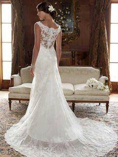 Vestido de novia con encaje en la espalda