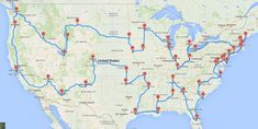 The Ultimate US Road Trip: The route map that makes stops at the top-ranked TripAdvisor cities.This map is 12,290 miles long and skips over North Dakota, Vermont and West Virginia.