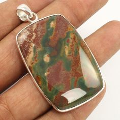Natural BLOODSTONE Gemstone 925 Sterling Silver Jewelry Large Pendant Wholesale #Unbranded #Pendant