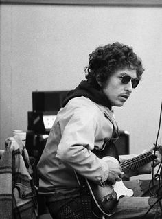 Bob Dylan at a recording session for musician Doug Sahm at Atlantic Studios in New York - October 9 1972