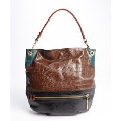 orYANY Coffee colorblock embossed leather 'Whitney' hobo bag ($175) ❤ liked on Polyvore featuring bags, handbags, shoulder bags, coffee multi, brown leather shoulder bag, leather duffel bag, brown shoulder bag, leather purses and hobo handbags