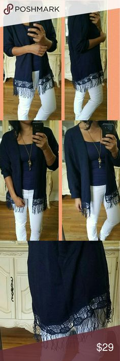 ▪NEW▪BOHO OPEN NAVY BLUE FRINGE CARDIGAN LOVE LOVE LOVE. Absolutely a must have. Super soft and comfy and perfect to pair with just about anything.  Beautiful fringe/floral hemline design. Open front. Navy blue in color. New without tags.   Sizes available:  S M L  ✔Price Firm. Bundle and save 15% off 2+.   Sweaters Cardigans