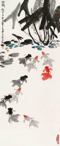 "Wu Zuoren(吴作人) ,    1984年作 池趣。 对于五千年的中华文化,他清醒地看到两次美术发展的高峰。通过对敦煌艺术的考察研究,他认为""冲激澎湃,犷放腾动,风逐电驰,凡所有隋以前的壁画,都充分地表现着这种中国古代民族的雄猛的生命力""结合对汉代石刻的研究,可以肯定当时中国文化早已东至于海,西渡大漠。我们的高贵、雄强、勇猛、奋进的民族性,很具体的在艺术上流露着。  中国艺术这个时期古拙狂放的作风一直发展到汉代,出现中国艺术史上的一个高潮。 Plant Painting, Ink Painting, Watercolor Paintings, Chinese Prints, Chinese Art, Chinese Brush, Japanese Drawings, Japanese Art, Japanese Painting"