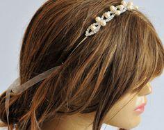 Crochet Headband or necklace hairband wedding pearl by selenayy