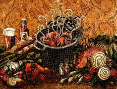 fish mosaic kitchen backsplash