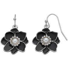 Black Flower Drop Earrings ($9.80) ❤ liked on Polyvore featuring jewelry, earrings, black, fish hook earrings, earrings jewelry, flower earrings, drop earrings and imitation jewelry