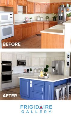 We love how Jenny Flake, Picky Palate transformed her kitchen! With painted cab. - Home Decor Design Kitchen Redo, New Kitchen, Kitchen Remodel, Kitchen Dining, Kitchen Ideas, Home Renovation, Home Remodeling, Diy Design, Interior Design