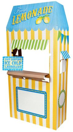 This Lemonade Cardboard Stand makes a fun party decoration! Carnival Themes, Party Themes, Party Ideas, Carnival Parties, Cardboard Crafts, Decoration, Party Supplies, Crafts For Kids, Crafty