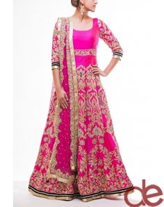DE Tempting Magenta Anarkali Suit With Border Work And Patch ...