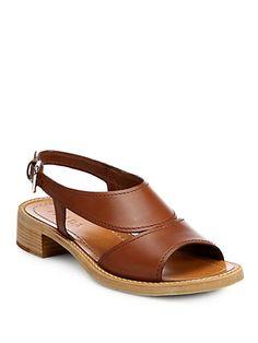 Prada - Leather Sandals - Saks.com