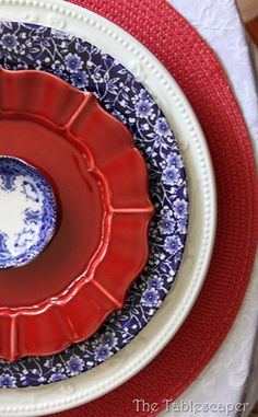 red, white, and blue plates
