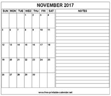 printable 2017 november calendar