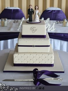 Purple was definitely running hot with my weddings this week! My second Wedding Cake was also a three tier but square this time. The flavours were Cherry Ripe and White Chocolate Raspberry Swirl. Quilted design on the bottom with Dark Cadbury Purple ribbon and lots of bling! Cake topper was supplied by the Bride.