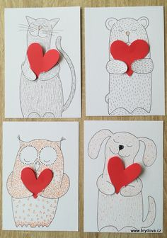 Winter Crafts For Kids Valentines Art For Kids, Valentines Day Activities, Valentine Day Crafts, Winter Crafts For Kids, School Art Projects, Art Lessons Elementary, Art Classroom, Teaching Art, Creations