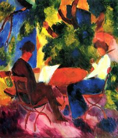 August Macke (1887 – 1914) was one of the leading members of the German Expressionist group Der Blaue Reiter (The Blue Rider)    1914+At+the+Garden+Table+oil+on+canvas.jpg (1368×1600)