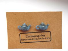 Tiny Teapot Earrings in Blue Stoneware by Coryographies