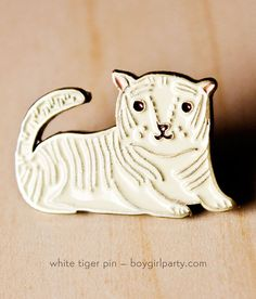 White Tiger Enamel Pin Brass Pin Tiger PIn White by boygirlparty