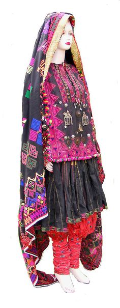 antique Pakistan Afghanistan nuristan swat Woman embroidered weding Dress jumlo