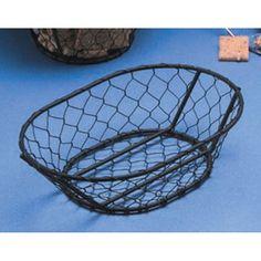 American Metalcraft WIR4 9 1/2 inch x 6 1/2 inch Black Chicken Wire Basket - $7.29/ea