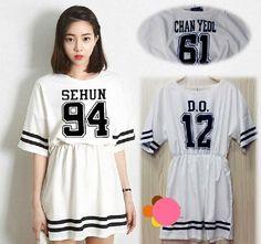 K-POP EXO Korean Skirt T-Shirt Dress EXO-K EXO-M 2014 New Style   #Unkown #ShirtDress