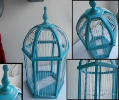 TEAL ANTIQUE BIRD CAGE, DISTRESSED WITH SILVER AND WHITE. TOOK ABOUT 90 MINUTES TO DO :)