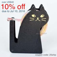 ***All tape holder include 1 roll washi tape(random)***  1 black cat washi tape Dispenser  ♥material: wood  It can hold 1 rolls 2cm tape  brown one: https://www.etsy.com/listing/195606284/brown-cat-washi-tape-holder-wood-case  the other tape holder: https://www.etsy.com/shop/shekphoebe/search?search_query=tape+holder&order=date_desc&view_type=gallery&ref=shop_search   ♥ If you would like to purchase different quantity , please feel free to contact me, i will set up a new list for you to…