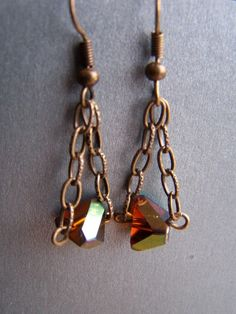 Amber Glass Nugget Chain Earrings by autumnraincreations on Etsy, $15.00