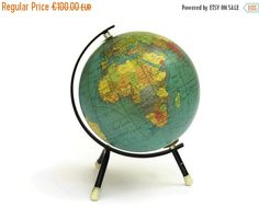 26 best Map Globe images on Pinterest   Globes  Map globe and Art     ON SALE Vintage French Map Globe  Cartes Taride by LeBonheurDuJour