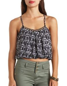embellished tribal print bubble crop top