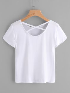 Rose Embroidered Patch Criss Cross Back Tee -SheIn(Sheinside) Girls Fashion Clothes, Summer Fashion Outfits, Really Cute Outfits, Pretty Outfits, Trendy Tops, Cute Tops, Diy Clothes Design, Grey Fashion, White Girls