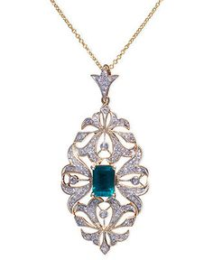 Effy Collection 14k Gold Necklace, Emerald (9/10 ct. t.w.) and Diamond (3/8 ct. t.w.) Ornate Pendant - Necklaces - Jewelry & Watches - Macy's