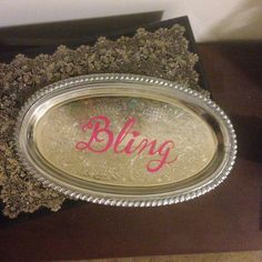 Bling tray / Metal tray / Jewelry Holder by DearbornDrive on Etsy