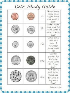 FREEBIE! One page, coin study sheet  with realistic, dual-sided pictures of each coin, coin values, and a chant for each coin!