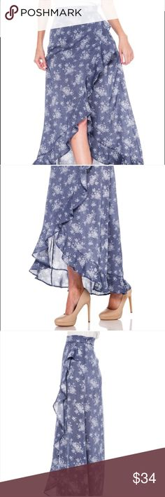 Blue Ruffle Floral Skirt Beautiful romantic and ultra feminine ruffle skirt made out of 100% rayon. This is a perfect spring and summer skirt. Bellino Clothing Skirts High Low