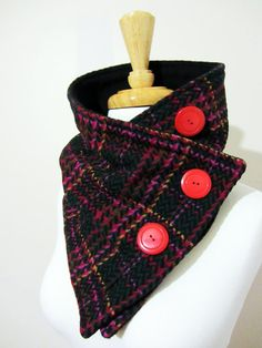 Christina Robinson. FashionCog. Neck Warmer Scarf Unisex Red, Purple, Olive, Goldenrod and Black Neck Warmer in Upcycled Fabric with Red Buttons
