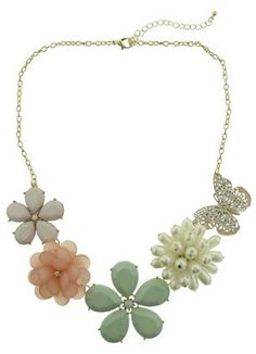 """Qingdao New Jemsin Arts and Crafts Co., Ltd. Women's Bib Necklace with Acrylic Stones and Simulated Pearls - Gold/Green (20.5"""")"""