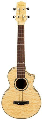 Ibanez UEW10QM Acoustic Cutaway Quilted Maple Ukulele by Ibanez. $179.99. The sweet-toned, nylon-stringed ukulele originated in 19th century Hawaii. It gained great popularity in the U.S. during the early 20th century and from there spread internationally. Ibanez is pleased to offer seven different models, including two with electronics. Our lineup includes soprano and concert-size ukuleles, which bring the rich, textured sounds to your fingertips.
