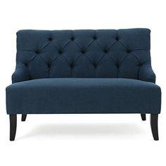 Nicoletta Deep Blue Fabric Settee