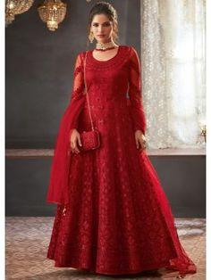 Get Lovely Red Color Net Designer Anarkali Suit latest designer party wear salwar suits, wedding wear anarkali dress for women at VJV Fashions. Robe Anarkali, Costumes Anarkali, Indian Anarkali, Anarkali Suits, Pakistani Dresses, Indian Dresses, Indian Outfits, Punjabi Suits, Shadi Dresses