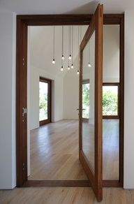 pivoting glass door...