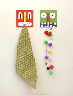 recycle crafts clothespin monster hanger