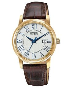 Citizen Watch, Women's Eco-Drive Brown Leather Strap 31mm EW1562-01A - Sale & Values - Jewelry & Watches - Macy's
