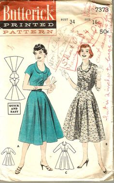 Vintage 50s Dress Pattern Full Skirt Shirtwaist