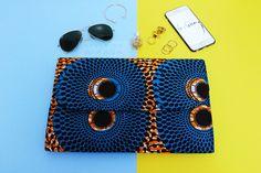 Blue Target Ankara Clutch Bag Available on www.stylemeankara.ca