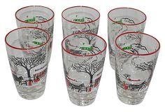 Vintage Christmas Glass Tumblers