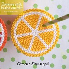 Strijkkralen fruit, sinaasappel, limoen, cirtoen, strijkkralen patroon, Summer Diy, Perler Beads, Symbols, Peace, Crafts, Om, Amber, Pineapple, Gift Ideas
