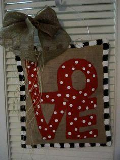 Valentine Day Burlap Door Hanger LOVE Valentine Decoration