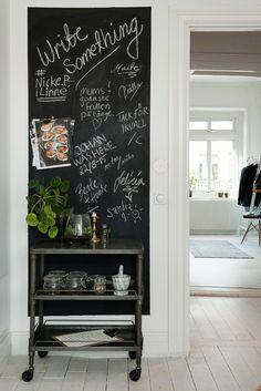A matching dog Mobile Home Living, Home And Living, Kitchen Blackboard, Chalk Wall, Lets Stay Home, Tiny Apartments, Minimalist Apartment, Scandinavian Interior Design, Bohemian Decor