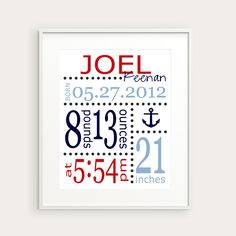 Nautical Nursery Decor - Anchor or Boat Art Print - Personalized Birth Announcement or Baby Gift, You Choose Illustration & Colors. $16.00, via Etsy.