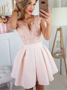Newest Deep V Neck Lace Top Satin A Line Short Homecoming Dress, BTW178#homecomingdresses #burgundy #burgundyhomecomingdress #prettydress #prettydresses #shorthomecomingdress #shorthomecomingdresses